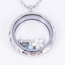 Floating Locket Diamond Cut Silver Stainless Steel 30mm 3 Free Charms + Chain