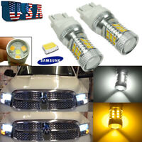 2x 3157 White/Amber Switchback DRL Turn Signal Light Bulbs For Dodge Ram Pickup