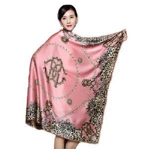 Vintage 100% Silk Scarf Shawl Oversized Square Leopard Print Accessories 110cm