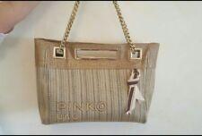 Borsa PINKO BAG sabbia beige pelle e paglia catena dorata oro 1690e42cd8d