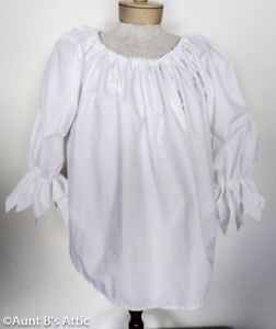 Pirate Peasant Blouse Ladies White Poly/Cotton Blend 3/4 Jagged Sleeve Blouse OS
