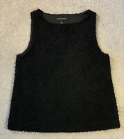 Banana Republic Black Fluffy Vest Loose Fit Size: XS Extra Small