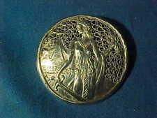 Early 20thc ART NOUVEAU STERLING Silver WOMAN w SWORD Filigree BROOCH Pin