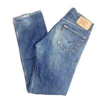 Levi Strauss Mens 501 W34 L36 Vintage Straight Leg Blue Stone Wash Button Jeans