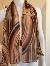 "Missoni Scarf Foulard 54''""x13""  Pure Silk Brown Orange Yellow Stripe"