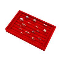 Ring Jewelry Pendant Velvet Display Organizer Tray Holder Earring Storage Case