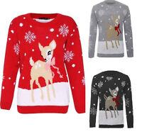New Women Kids Christmas Bambi Baby Deer Print Knitted Xmas Jumper Top UK 3/4-22