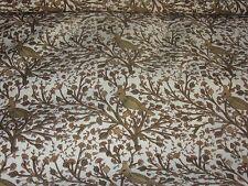 tissu toile coton tissé oiseaux  tons de beige en 150 cm de large au mètre