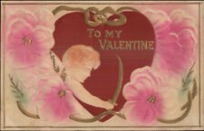 Valentine - Cupid Bow Arrow Hearts Embossed Airbrushed c1910 Postcard