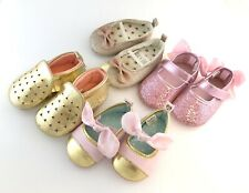 Lot Of (6) Baby Girl Crib Shoes Gold Silver Pink Glitter ADORABLE
