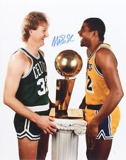 Magic Johnson SIGNED 16x20 Color Photo with Larry Bird (JSA Witnessed COA)