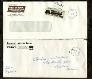 c069 - LONDON 1984 Lot of (2) Covers with POSTAGE DUE Markings. Locomotive Stamp