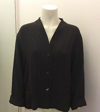 OSKA Brown Wool Crepe Collarless Jacket. Size II. Fits 12/14