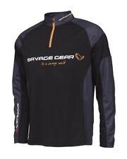 Savage Gear Tournament Shirt 1/2 Zip Black Ink S-XXL Tricot Long Sleeve UV 30+