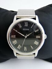 GUESS MENS WAFER WATCH W0406G1 STAINLESS STEEL BRACELET BLACK DIAL GENUINE