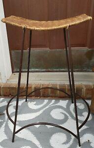 Vintage Arthur Umanoff Bar Stool Mid century Modern Iron & Wicker Seat MCM Chair