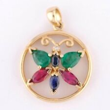 14k Yellow Gold Pendant Butterfly  Sapphire, Emerald, Ruby with Diamond accent