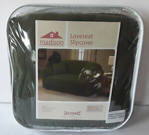 Madison Jersey Stretch Loveseat Slipcover in Forest Green New