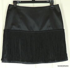 Cache 2 Black Sexy Wiggle Fringe Go Go Shimmy Satin Club Mini Skirt NWT $118.00