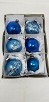 "6 Vintage Stencil Shiny Brite BLUE Merry Christmas Tear Drops Ornaments 2 1/2"""