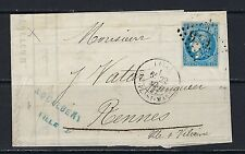 1870-71 France Scott 45 on cover Lille (5/22/1871) to Rennes (5/24/1871)