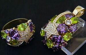 14K amethyst , peridot  Shooting Star Pendant , Ring (sz.10)set