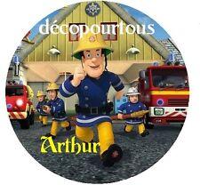 disque azyme sam le pompier personnalisé 20 cm pour gateaux , enfant ,fetes