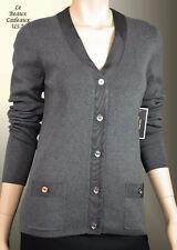 NWT$128 JUICY COUTURE Women MEDIUM Grey Gray Cardigan Sweater DRESSY