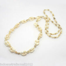 Beach Collection Natural Conch Sea Shell  Beads Long Necklace (NJEW-O014-03C)