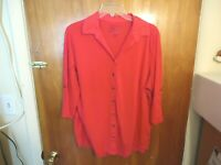 """Womens Just My Size 1X (16W) Pinkish Red 3/4 Sleeve Button Down Top """" BEAUTIFUL"""