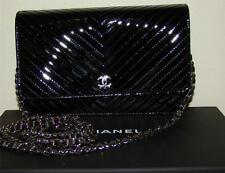 CHANEL WALLET ON A CHAIN BLACK PATENT LEATHER NIB