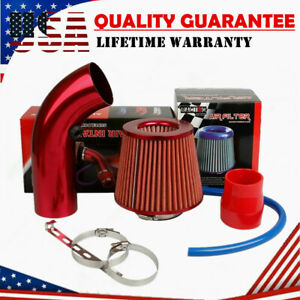 "Air Intake Kit Red Pipe Diameter 3"" +Cold Air Intake Filter+ Clamp+ Accessories"