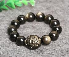 natural gold obsidian toad bracelet