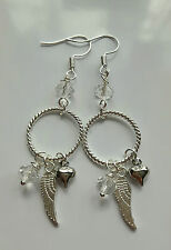 ANGEL wing multi charm drop boho earrings glass bead silver plated hooks heart