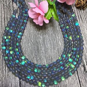 Natural 6-10mm White / Gray Gleamy Rainbow Moonstone Round Loose Beads 15'' AAA
