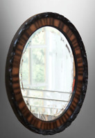 Vintage Carved Mahogany Oval Wall Mirror [6611]