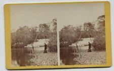 Early Oversize Stereoview Marshall's Creek Monroe County Pennsylvania