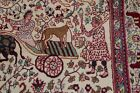 Vintage Collectible Animal Pictorial Agra Oriental Area Rug Hand-made Wool 4'x8'