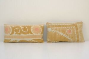 "12"" x 22"" Suzani handmade pillow, Set of Two Pink Ethnic Lumbar Cushion Cover"