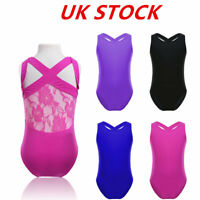 UK Girls Ballet Gymnastics Dance Leotard Lace Back Performance Dancewear Costume