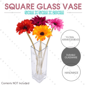 Square Clear Glass Vase Flower Display Wedding Party Table Home Decor 5x20cmH