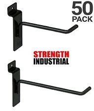 "50 New Slatwall Hooks Bundle 4"" & 6"" -25 Each- Black"