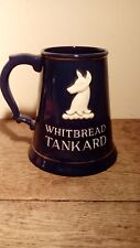 Large Vintage Blue Whitbread Tankard With Hind Logo And Lettering. About 4 Pints