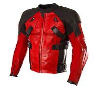 Mens Motorcycle Jackets Leather Vintage Retro Racer Sport Dead Pool Themed Biker