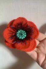 Knitted crocheted Red poppy embellishment