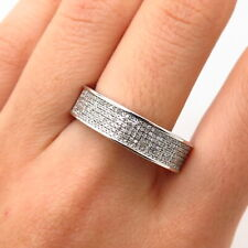 925 Sterling Silver Real Diamond Men's Wedding Band Ring Size 10