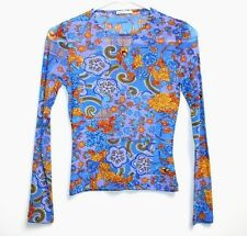 Phard Girl - ITALY - 12 -NWOT- Blue & Multi-Color Floral Print L/S Mesh Knit Top