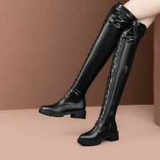 Ladies Motorcycle Street Over Knee High Boots Cuban Heel Knight Shoes Size 34-52