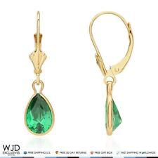 """14K Yellow Gold Bezel Teardrop Emerald Leverback Dangle Earrings 1"""""""