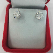 1Ct Diamond Earrings Solid 14Kt White Gold Round Brilliant Cut Stud VVS1/D